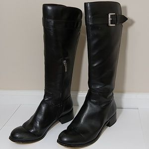 Bebe Black Leather High Rise Boots. Size 6